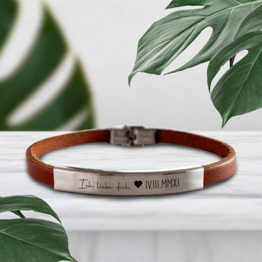 ILD Herz mit Römischen Datum   Lederarmbänder