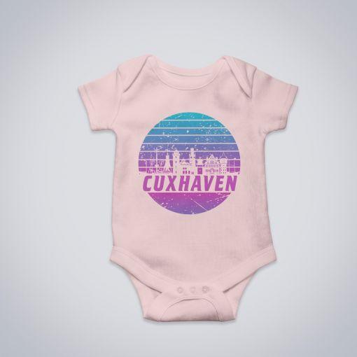 Cuxhaven Skyline violett im Kreis | BabyBody Mädchen