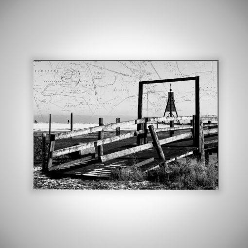 Kugelbake mit Seekarte Querformat | 3mm Alu-Dibond-Platte Galerie Print