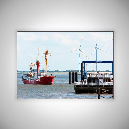 Feuerschiff Elbe 1 an der Alten Liebe | 3mm Alu-Dibond-Platte Galerie Print
