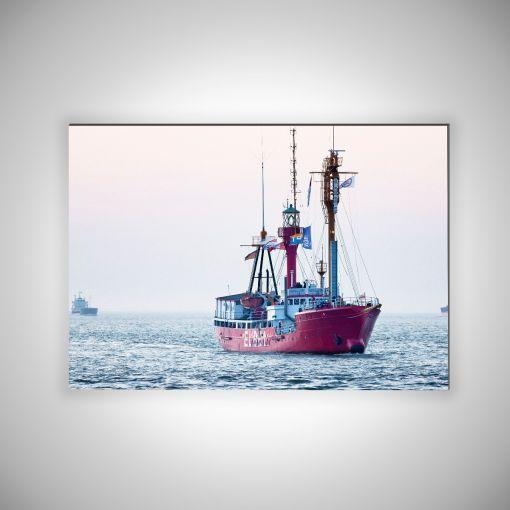 Feuerschiff Elbe 1 Querformat | 3mm Alu-Dibond-Platte Galerie Print