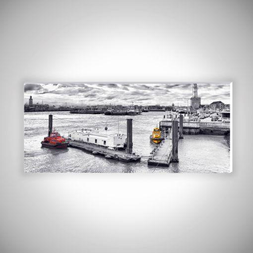 Schlepper Cuxhaven Panorama   Hartschaumplatte 10mm Galerie Print