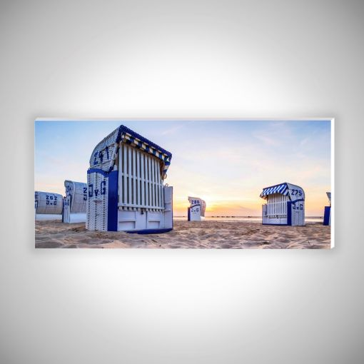 Strandkörbe Sonnenaufgang Panorama   Hartschaumplatte 10mm Galerie Print