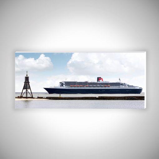 Kugelbake mit Queen Mary 2 Panorama   Hartschaumplatte 10mm Galerie Print
