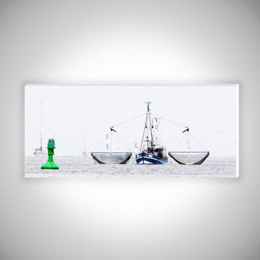 Fischkutter mit Rettungsboje Panorama   Hartschaumplatte 10mm Galerie Print