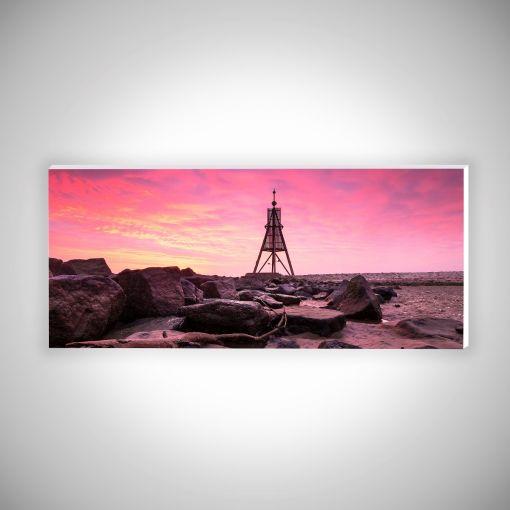 Kugelbake mit Wellenbrechern Panorama   Hartschaumplatte 10mm Galerie Print