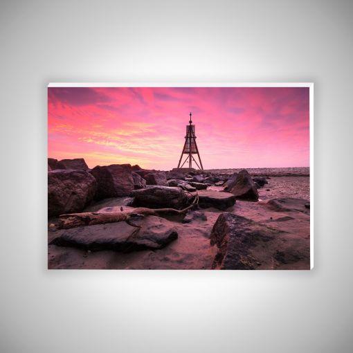 Kugelbake mit Wellenbrechern   Hartschaumplatte 10mm Galerie Print