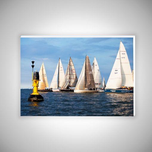 Segelschiffe mit Boje   Hartschaumplatte 10mm Galerie Print