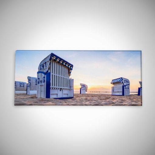 Strandkörbe im Sonnenaufgang Panorama | Leinwand Galerie Print