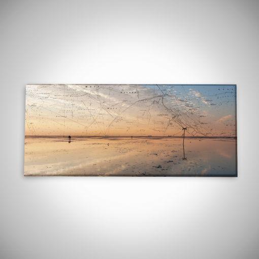 Wattenmeer bei Ebbe mit Seekarte Panorama | Leinwand Galerie Print