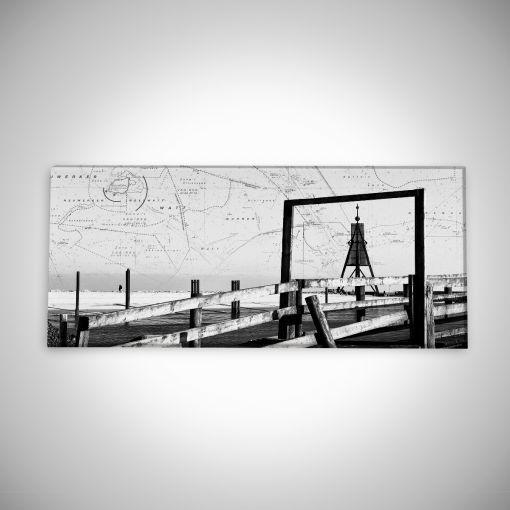 Kugelbake mit Seekarte Panorama | Leinwand Galerie Print