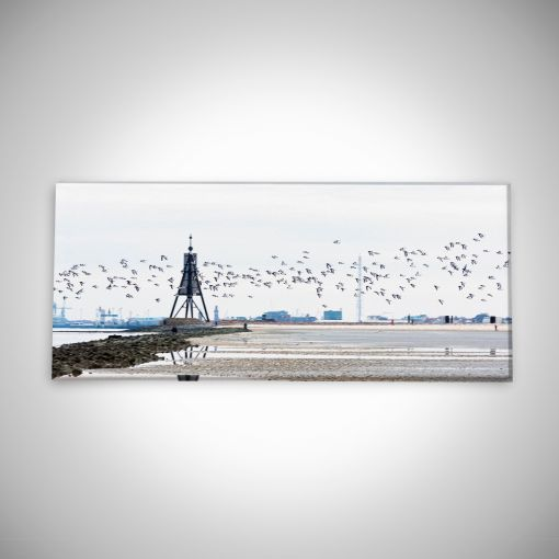 Kugelbake mit Vogelschwarm Panorama | Leinwand Galerie Print