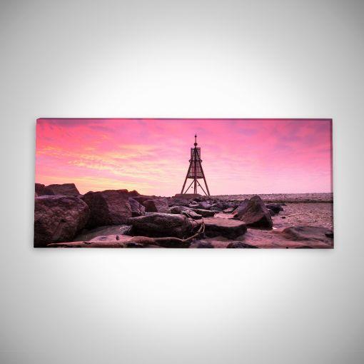 Kugelbake mit Wellenbrechern Panorama | Leinwand Galerie Print