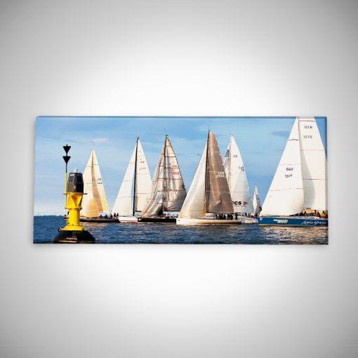 Segelschiffe mit Boje Panorama | Leinwand Galerie Print