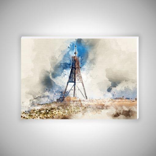 Kugelbake Aquarell Querformat   Hartschaumplatte 10mm Galerie Print