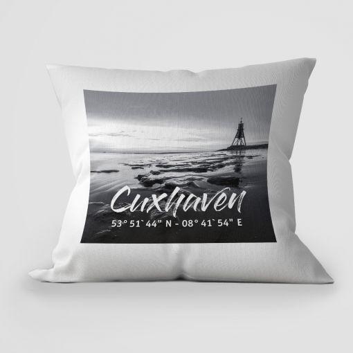 Cuxhavener Wattbild schwarz weiß | Kissen