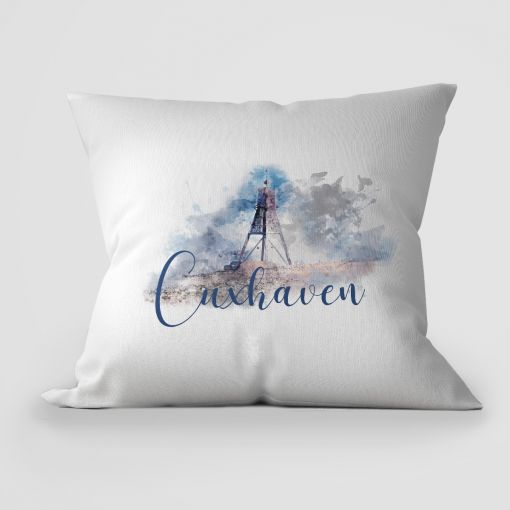 Aquarell Kugelbake Cuxhaven | Kissen