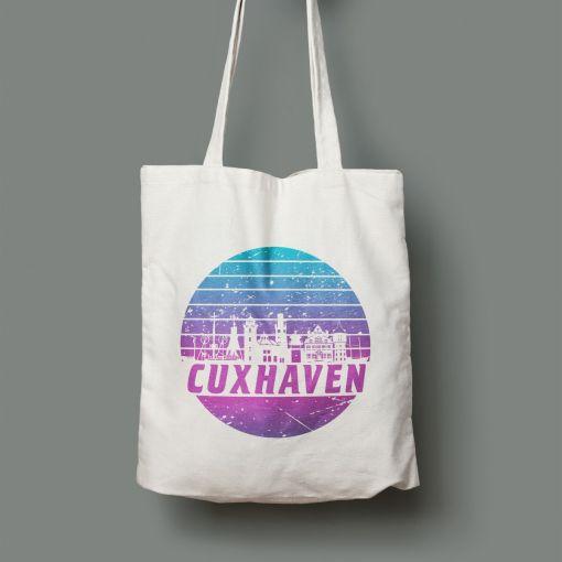 Cuxhaven Skyline violett im Kreis | Jutebeutel