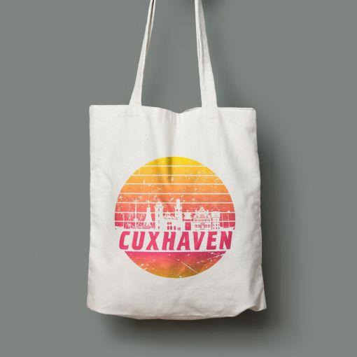 Cuxhaven Skyline orange im Kreis | Jutebeutel