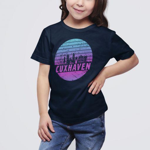 Cuxhaven Skyline Violett im Kreis   Kids T-Shirt Mädchen
