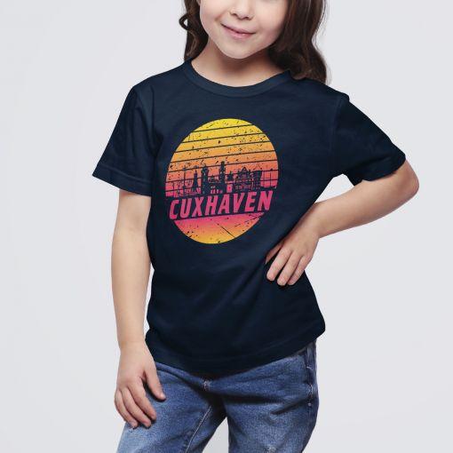 Cuxhaven Skyline orange im Kreis   Kids T-Shirt Mädchen
