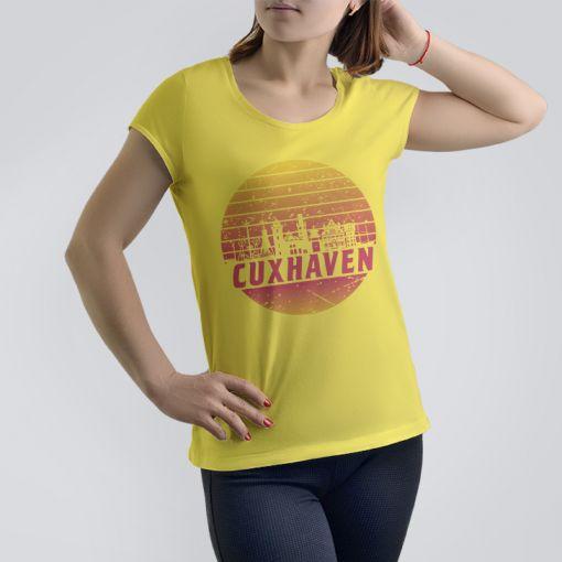 Cuxhaven Skyline orange im Kreis | Damen T-Shirt
