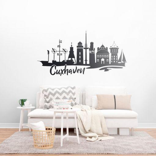 Cuxhaven Skyline mit Schriftzug   Wandtattoo