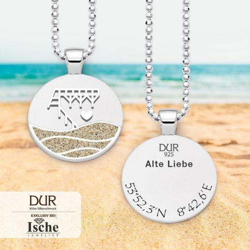 """Anhänger """"Alte Liebe"""" mit Strandsand & Koordinaten    Schmuck"""