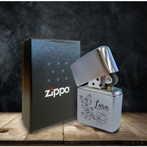 Blumenranke mit Wunschnamen | Zippo