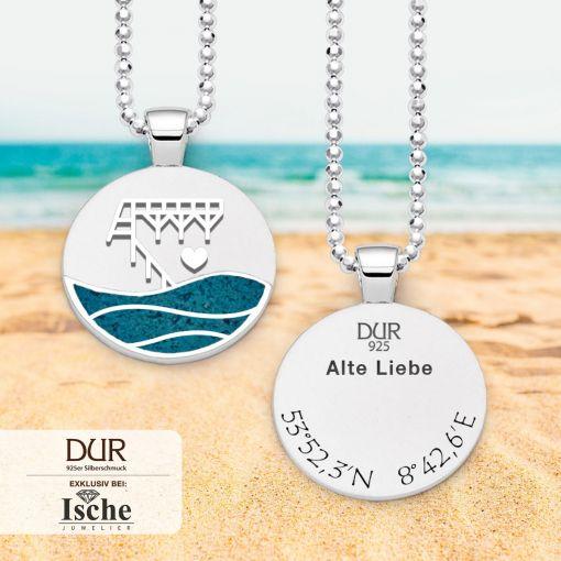 """Anhänger """"Alte Liebe"""" mit blauem Strandsand & Koordinaten    Schmuck"""
