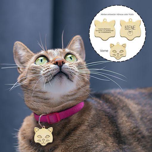 Katzenmarke mit Katzenkopf   Hundemarke