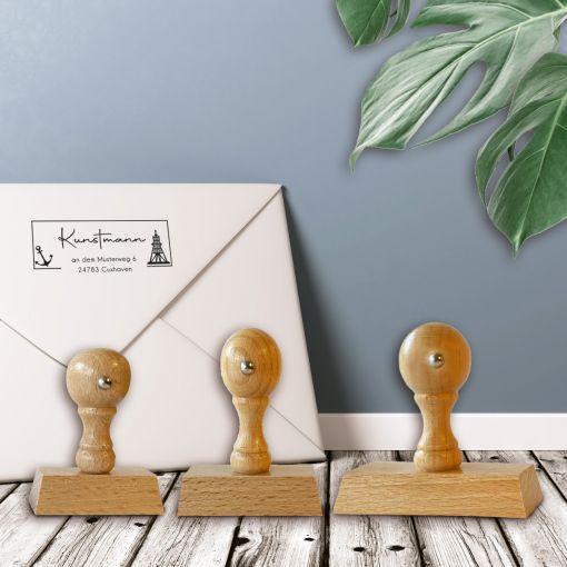 CuxStempel - Adress-Stempel Eckig | Holzstempel